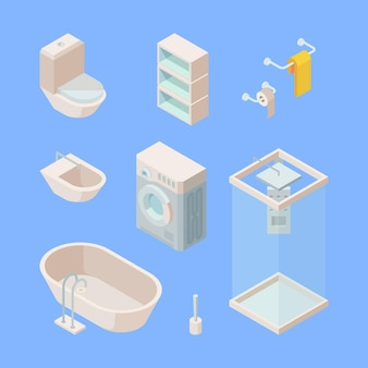 Isometrisches set für das badezimmer