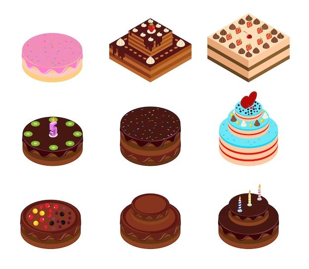 Isometrisches set für geburtstags- und schokoladenkuchen. isometrische kuchen mit dekorationen.