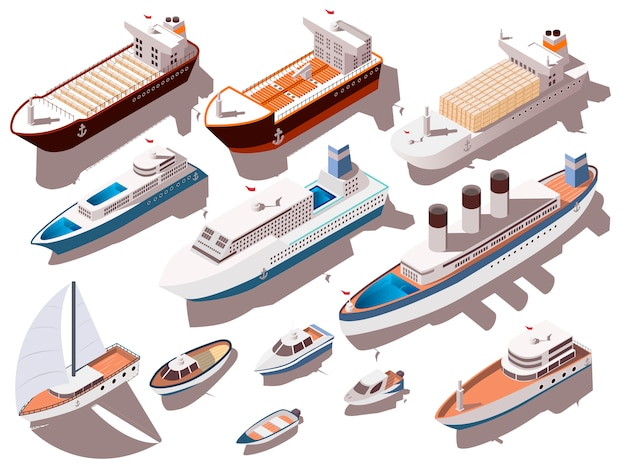 Isometrisches set für schiffe