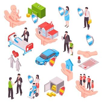 Isometrisches set für versicherungsdienstleistungen