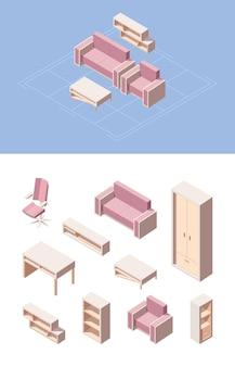 Isometrisches set für wohnzimmermöbel. rosa klappsofa computerstuhl, transformator stuhl kleiderschrank schuh schreibtisch schubladen bücherregale couchtisch modernes grafikdesign wohnzimmer.