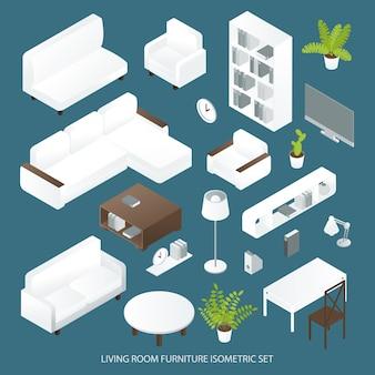 Isometrisches set für wohnzimmermöbel