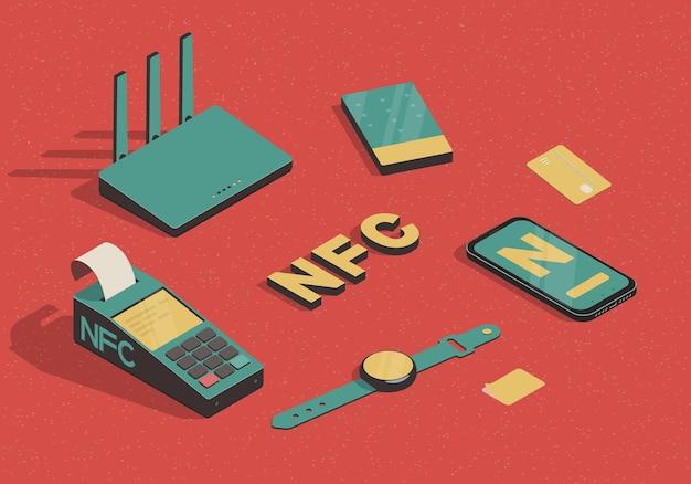 Isometrisches set mit nfc-gadget-illustration