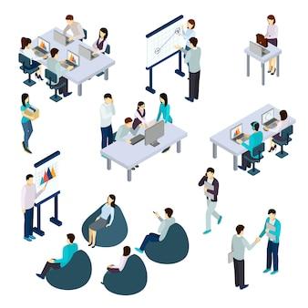 Isometrisches set von coworking
