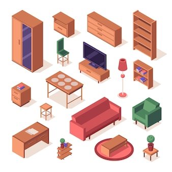 Isometrisches set von wohnzimmermöbeln.