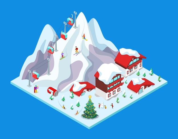 Isometrisches skigebiet mit hotelgebäuden, schneebedeckten bergen und aufzug. illustration