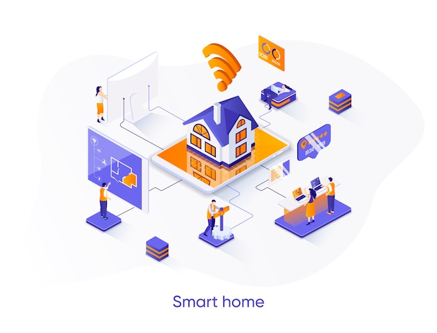 Isometrisches smart home-webbanner.