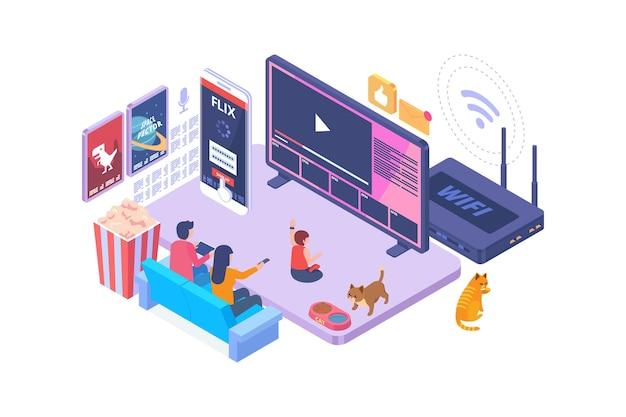 Isometrisches smart-tv-technologiekonzept