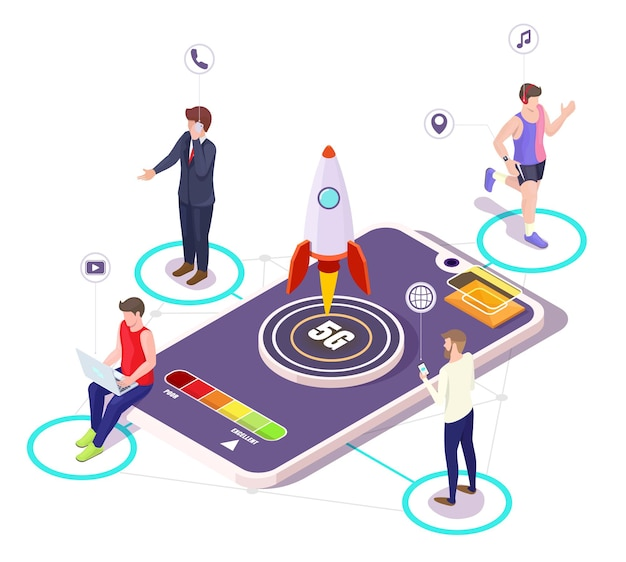 Isometrisches smartphone, 5g-raketenstart. leute, die auf mobiltelefonen sprechen, videos auf laptop-computer ansehen, mit smartwatch joggen, vektorillustration. 5g drahtlose netzwerksysteme.