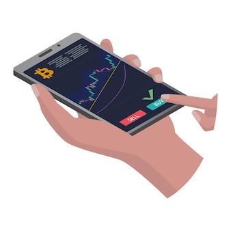 Isometrisches smartphone in der hand mit einem diagramm von bitcoin, das einzeln auf weiß steigt. der finger drückt den kaufknopf. die handyhülle ist grau. vorlage für anwendung oder website. vektor-eps 10.