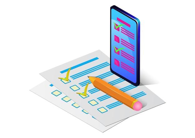 Isometrisches smartphone mit checkliste auf papier und bleistift