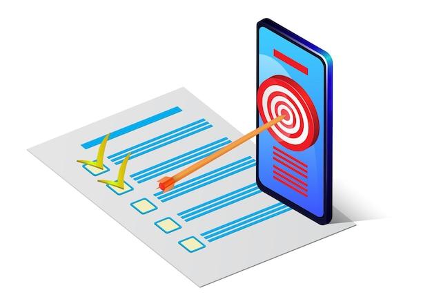 Isometrisches smartphone mit ziel auf dem bildschirm und checkliste auf papier