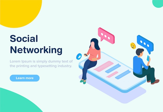 Isometrisches social networking im flachen design