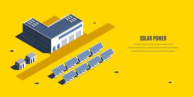 Isometrisches solarkraftwerk. 3d-konzept für erneuerbare energien