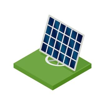 Isometrisches solarpanel. konzept der sauberen energie. saubere ökologische energie. elektrische energie aus der sonne