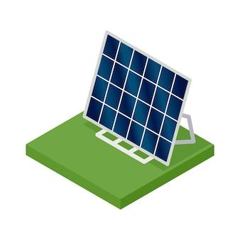 Isometrisches solarpanel. konzept der sauberen energie. saubere ökologische kraft. öko erneuerbare elektrische energie aus der sonne. symbol für das web.