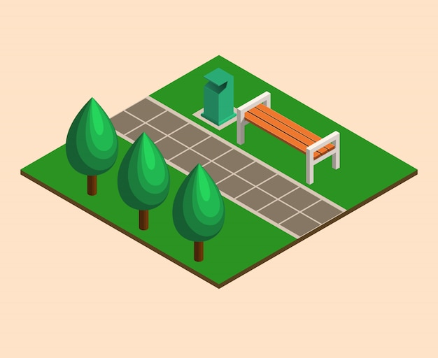 Isometrisches sommerstadtparkkonzept, bäume, bänke, abfall