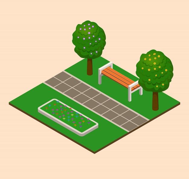 Isometrisches sommerstadtparkkonzept, bäume, büsche.