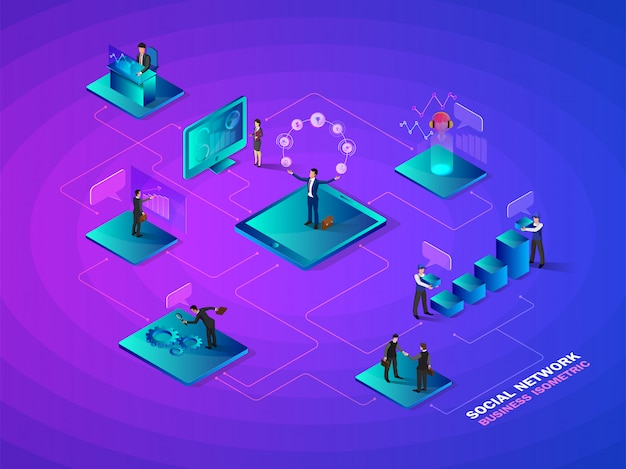 Isometrisches soziales netzwerk.