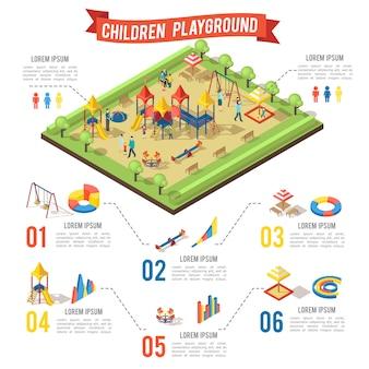 Isometrisches spielplatz-infografik-konzept