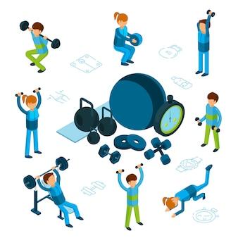 Isometrisches sport- oder fitnesskonzept. männlicher und weiblicher zug, sportartikel lokalisiert auf weißem hintergrund