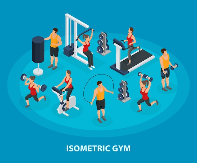 Isometrisches sport- und gesundes lebensstilkonzept