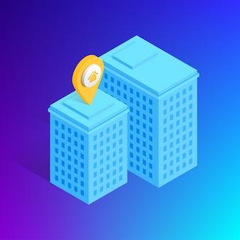 Isometrisches stadtgebäude auf gradientenhintergrund. 3d-konzept mit haus- und hauptschildkartenzeiger. virtuelle realität. illustration für web, game design, mobile apps