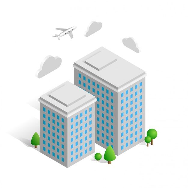 Isometrisches stadtgebäude lokalisiert auf weißem hintergrund. 3d-konzept mit häusern, bäumen, wolken und flugzeug. illustration für web, game design, mobile apps