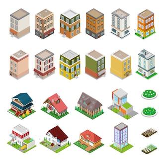 Isometrisches stadtgebäudeset. moderne häuser mit blumen. illustration