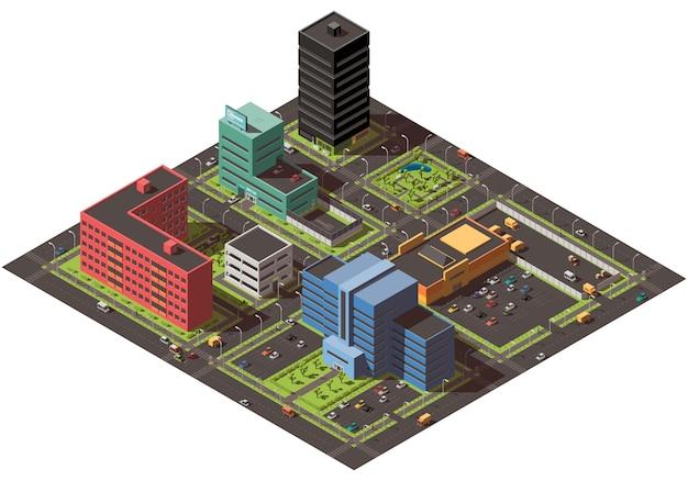 Isometrisches stadtkonzept