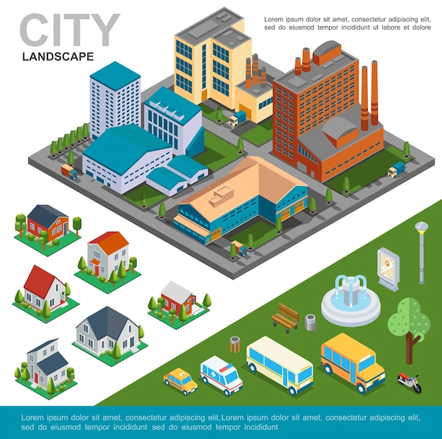 Isometrisches stadtlandschaftskonzept mit fabriken vorstadthäusern bus taxi krankenwagen auto motorrad brunnen bank baum pol illustration