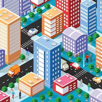 Isometrisches stadtviertel mit häusern, straßen, menschen, autos.