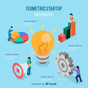 Isometrisches start-infographik