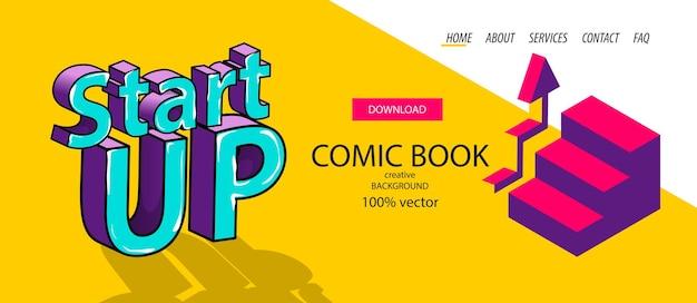 Isometrisches startup-banner für digitales geschäft in infografik-comic-text 3d für mobile apps