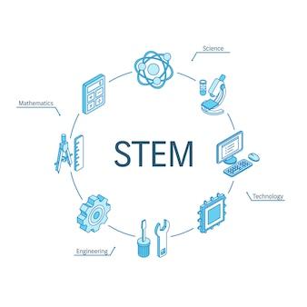 Isometrisches stem-konzept. verbundene linie 3d symbole. integriertes kreis-infografik-design-system. symbole für wissenschaft, technologie, ingenieurwesen, mathematik