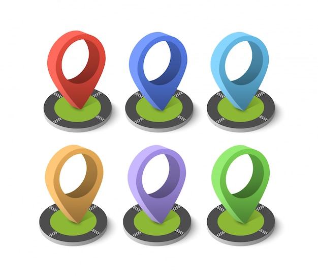 Isometrisches stiftsymbol auf der navigationskarte