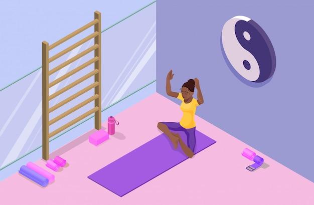 Isometrisches studio 3d des yoga