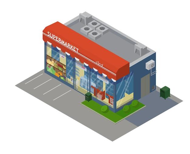 Isometrisches supermarktgebäude mit vitrine mit lebensmitteln