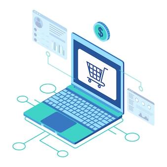 Isometrisches symbol, das einen laptop darstellt, der die analyse der marketplace-site-verkäufe anzeigt