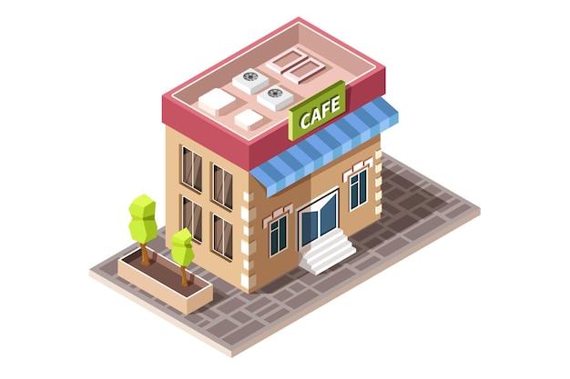 Isometrisches symbol, das kaffeehausgebäude mit bäumen darstellt.
