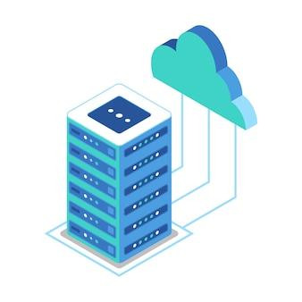 Isometrisches symbol, das server und clouds für den zugriff auf daten darstellt