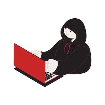 Isometrisches symbol für cyberangriffe mit hacker und laptop 3d-darstellung