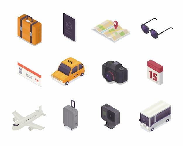 Isometrisches symbol für reisen.