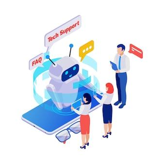 Isometrisches symbol mit kunden, die fragen an den technischen support-chatbot 3d stellen