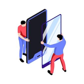 Isometrisches symbol mit leuten vom reparaturservice, die die smartphone-bildschirmillustration ändern