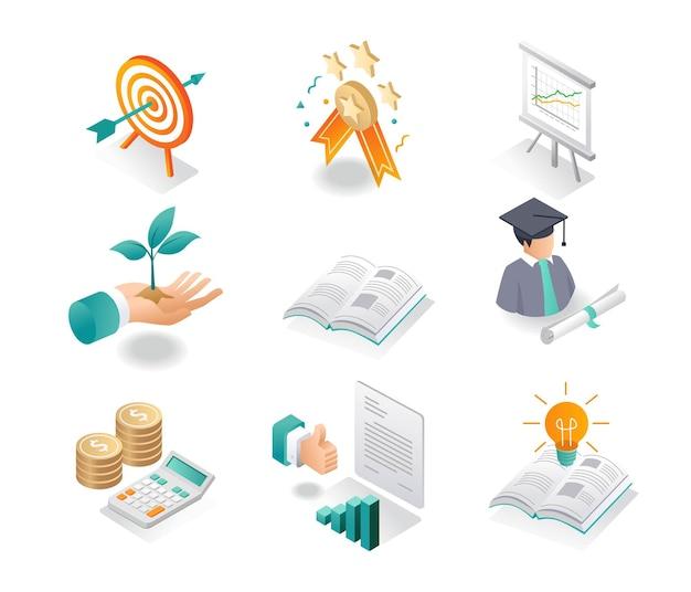 Isometrisches symbol setzt schule und studium