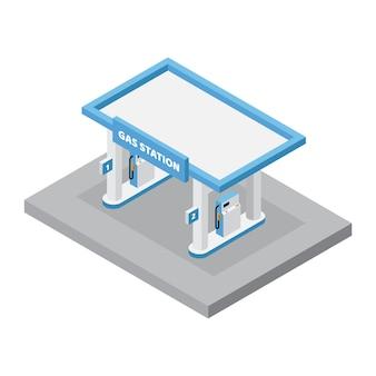 Isometrisches tankstelle-gebäude mit brennstoff-maschinen-vektor