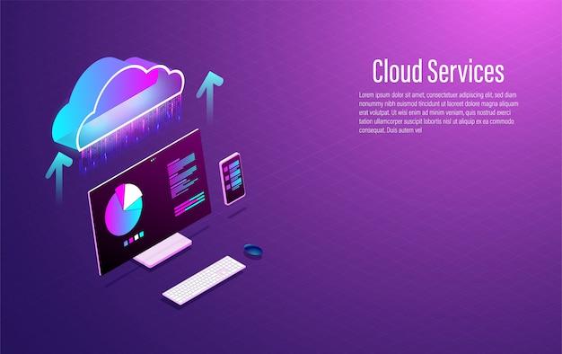 Isometrisches technolodgy konzept der cloud-datendienste.