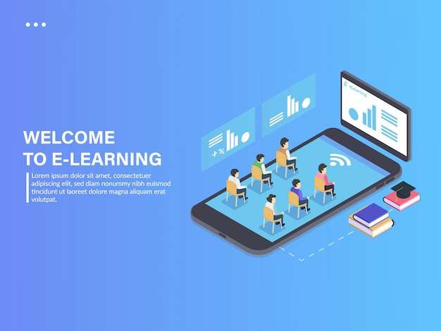 Isometrisches telefon der e-learning-studie mobile app