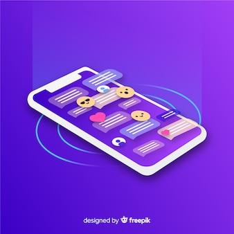 Isometrisches telefon mit chatkonzept